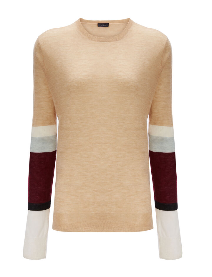 Joseph, Cashair Stripe Round Neck Sweater , in CAMEL