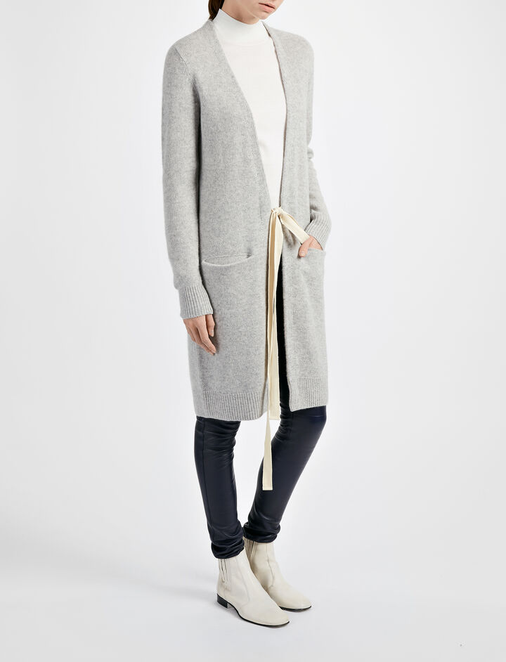 Open Cashmere Long Cardigan, in GREY CHINE, large | on Joseph