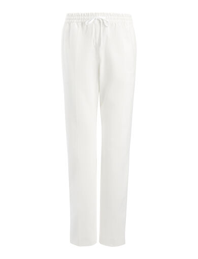 Gabardine Stretch Louna Trouser, in OFF WHITE, large | on Joseph