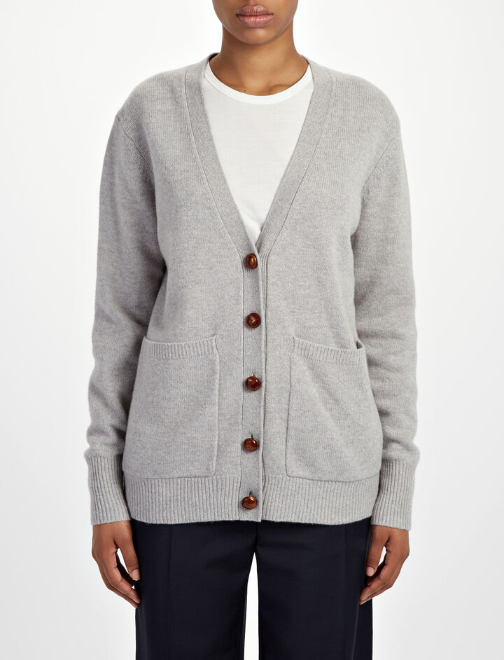 Soft Wool Boyfriend Cardigan, in CONCRETE, large | on Joseph