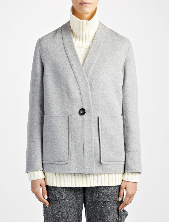 Light Double Cashmere Bono Coat, in CONCRETE, large | on Joseph
