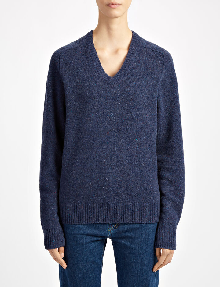 Pure Wool Knit V Neck Sweater, in MARINE, large | on Joseph
