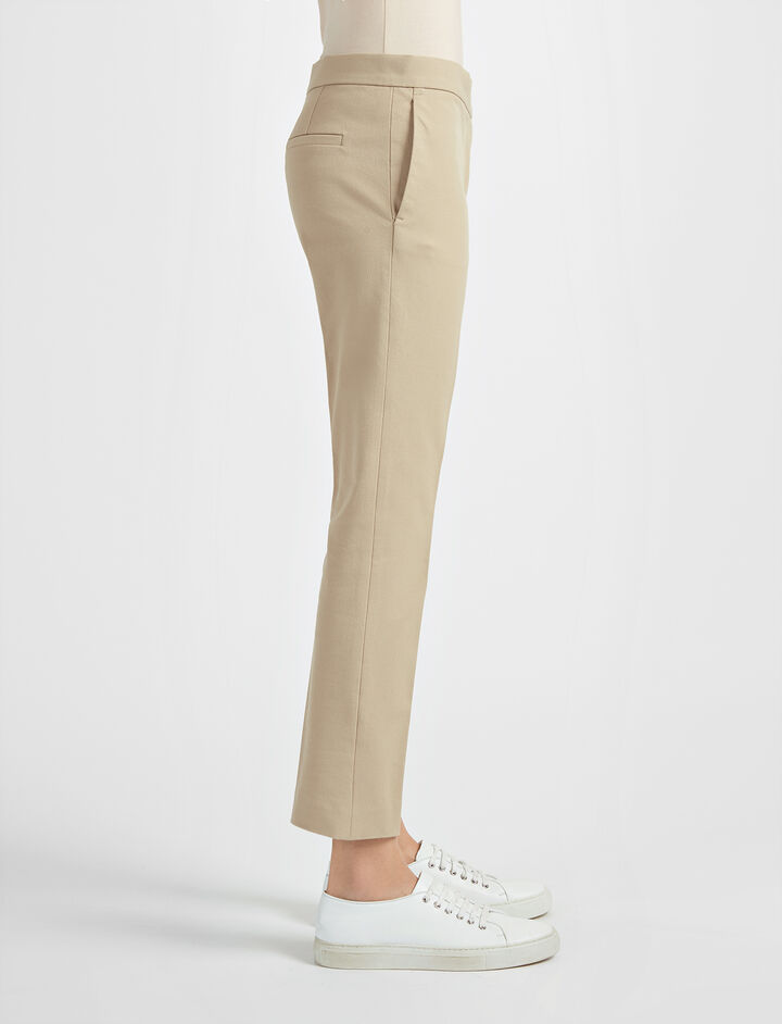 Gabardine Stretch Finley Trouser, in BEIGE, large | on Joseph