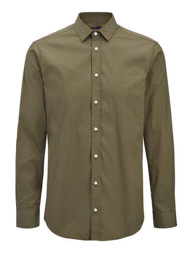 Chemise Jim en popeline stretch, in KHAKI, large | on Joseph