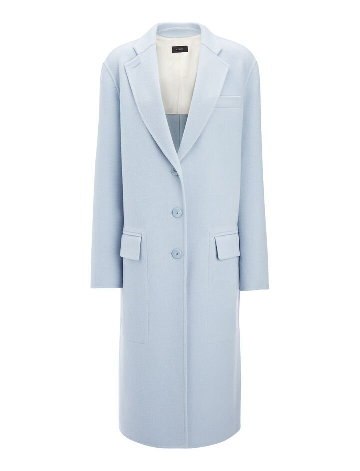 Double Face Wool Simo Coat, in POWDER BLUE, large | on Joseph