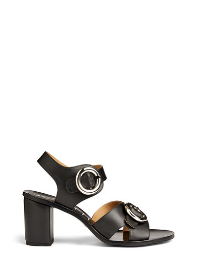 Calf Leather Heeled Buckle Sandal, in BLACK, large | on Joseph