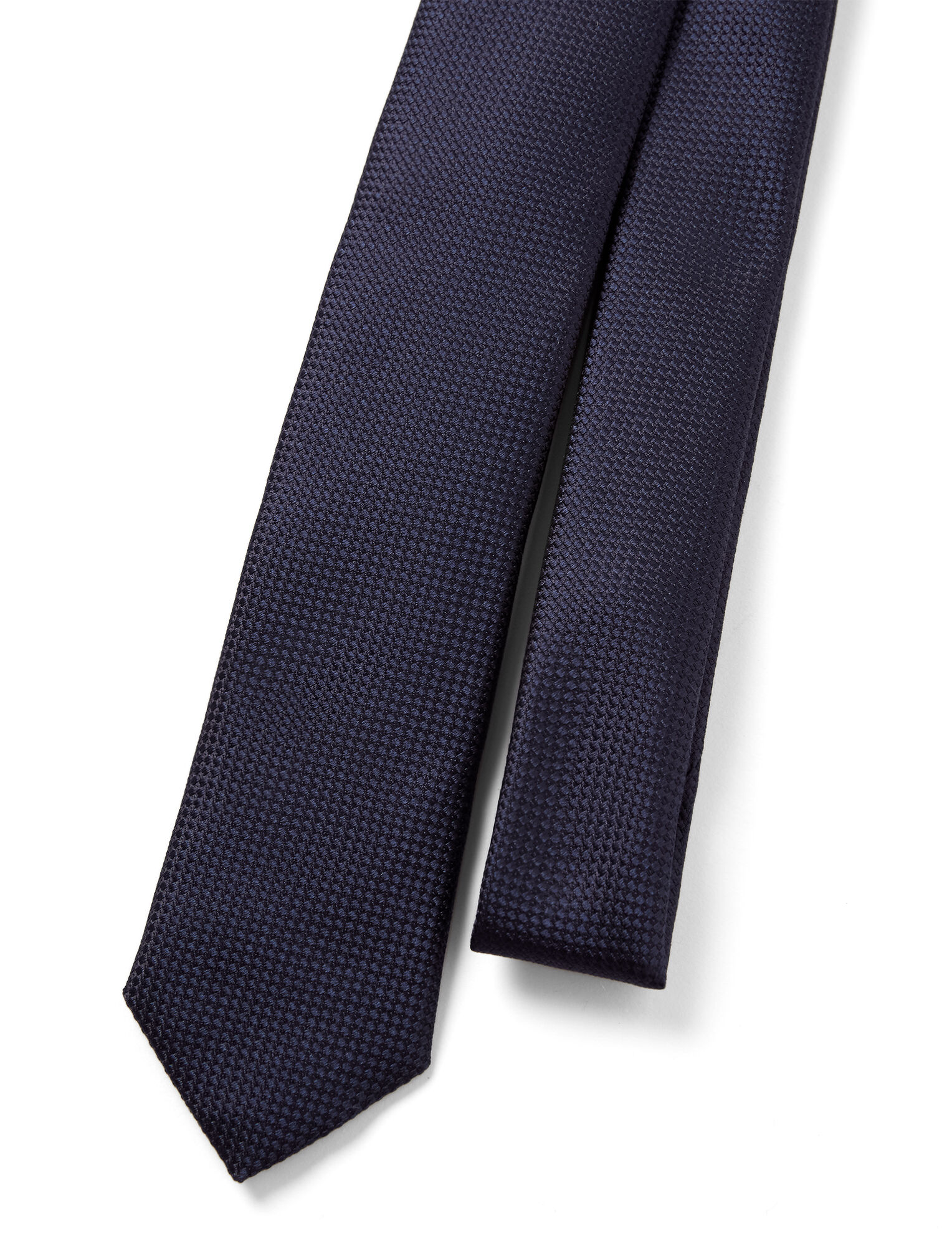 Ribbed Silk Tie, in NAVY, large | on Joseph