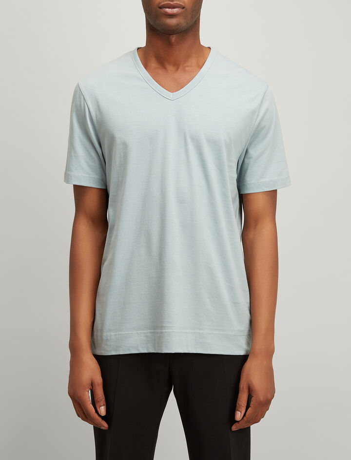 Joseph, Mercerized Jersey V Neck Tee, in ETON