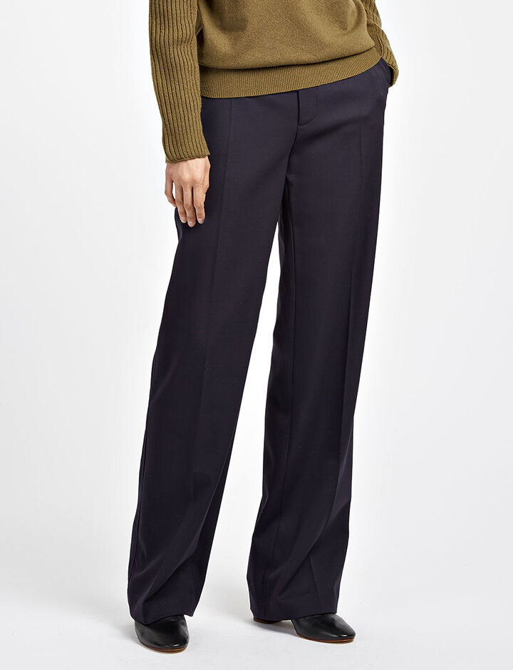 Stretch Wool Ferdy Trousers, in NAVY, large | on Joseph