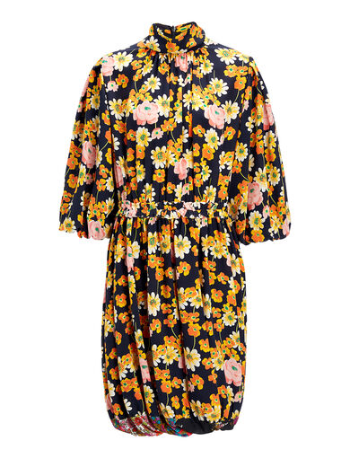 Field Floral Crepe de Chine Owen Dress, in MULTICOLOR, large | on Joseph