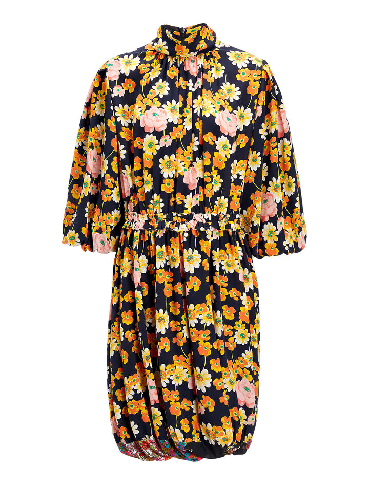 Field Floral Crepe de Chine Owen Dress, in MULTICOLOR, large | on Joseph