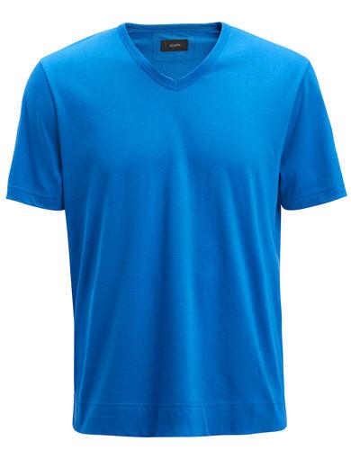 Tee-shirt col V en jersey mercerisé, in SAPHIRE, large | on Joseph