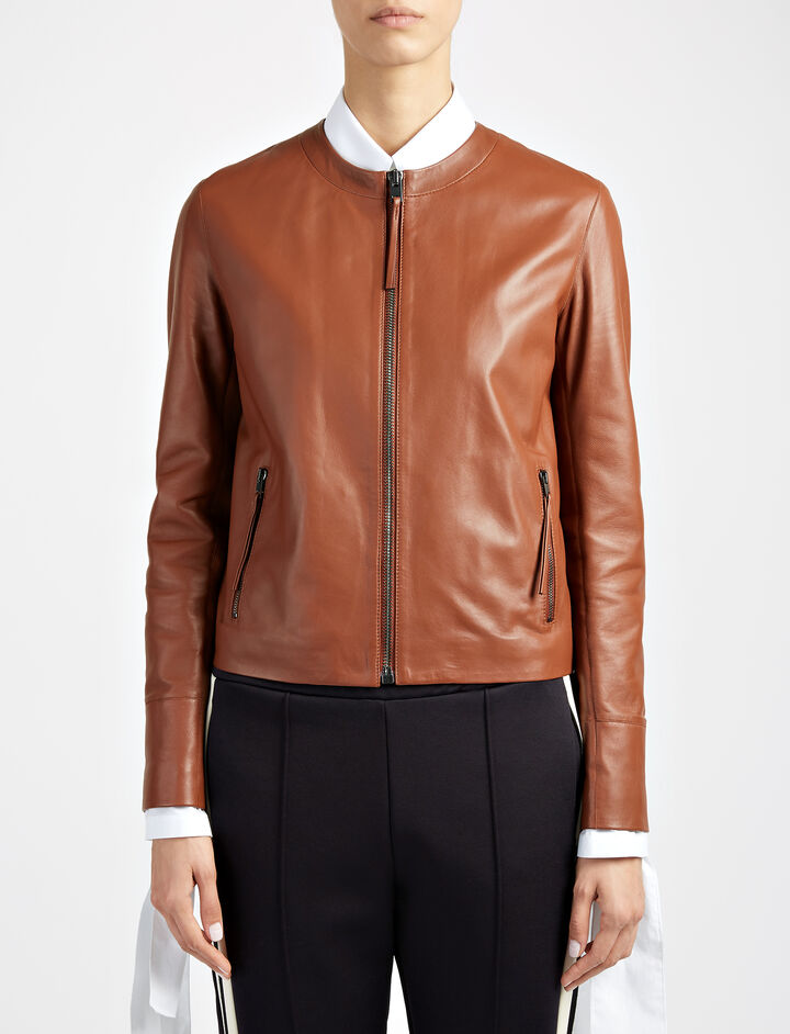 Matt Nappa Leather Alya Jacket, in TOBACCO, large | on Joseph