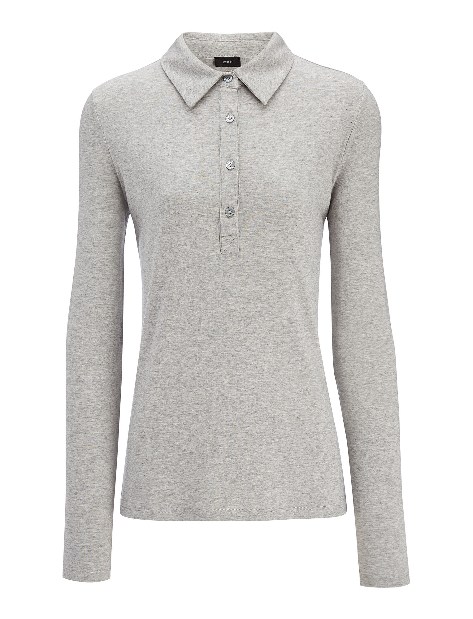 Cotton Lyocell Stretch Polo, in GREY CHINE, large | on Joseph