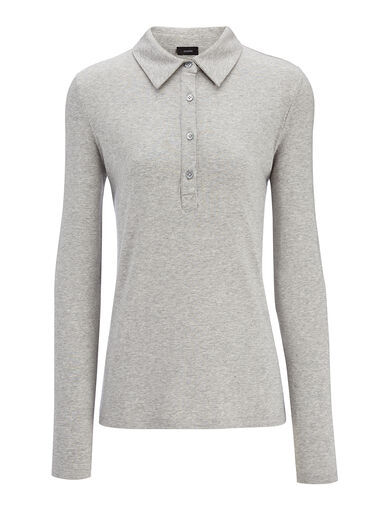 Polo en coton et lyocell stretch, in GREY CHINE, large | on Joseph