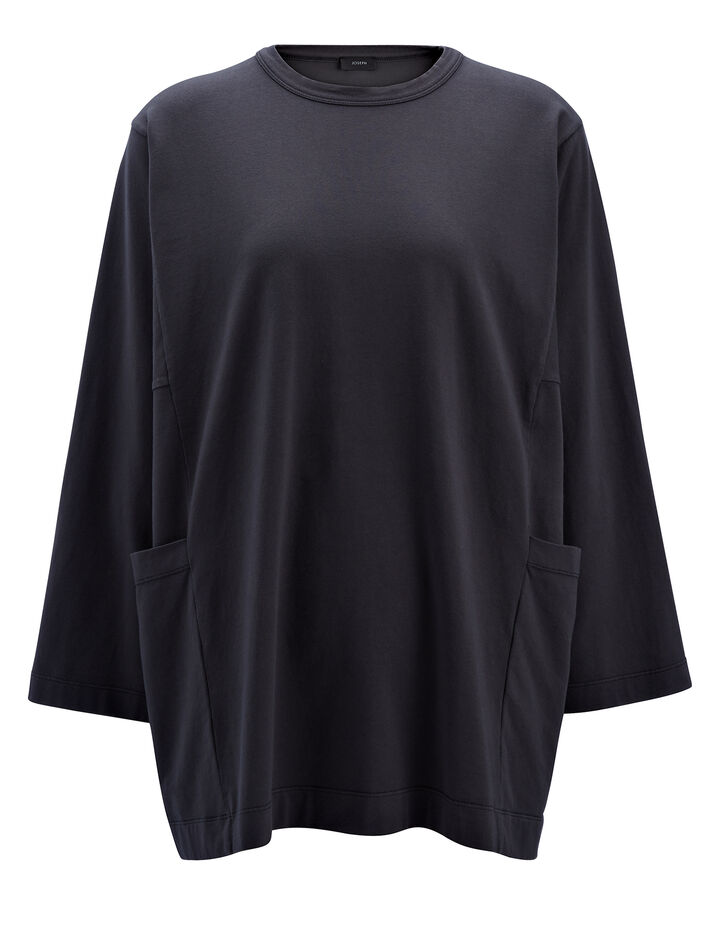 Garment Dyed Oversized Jersey, in SMOKE, large | on Joseph