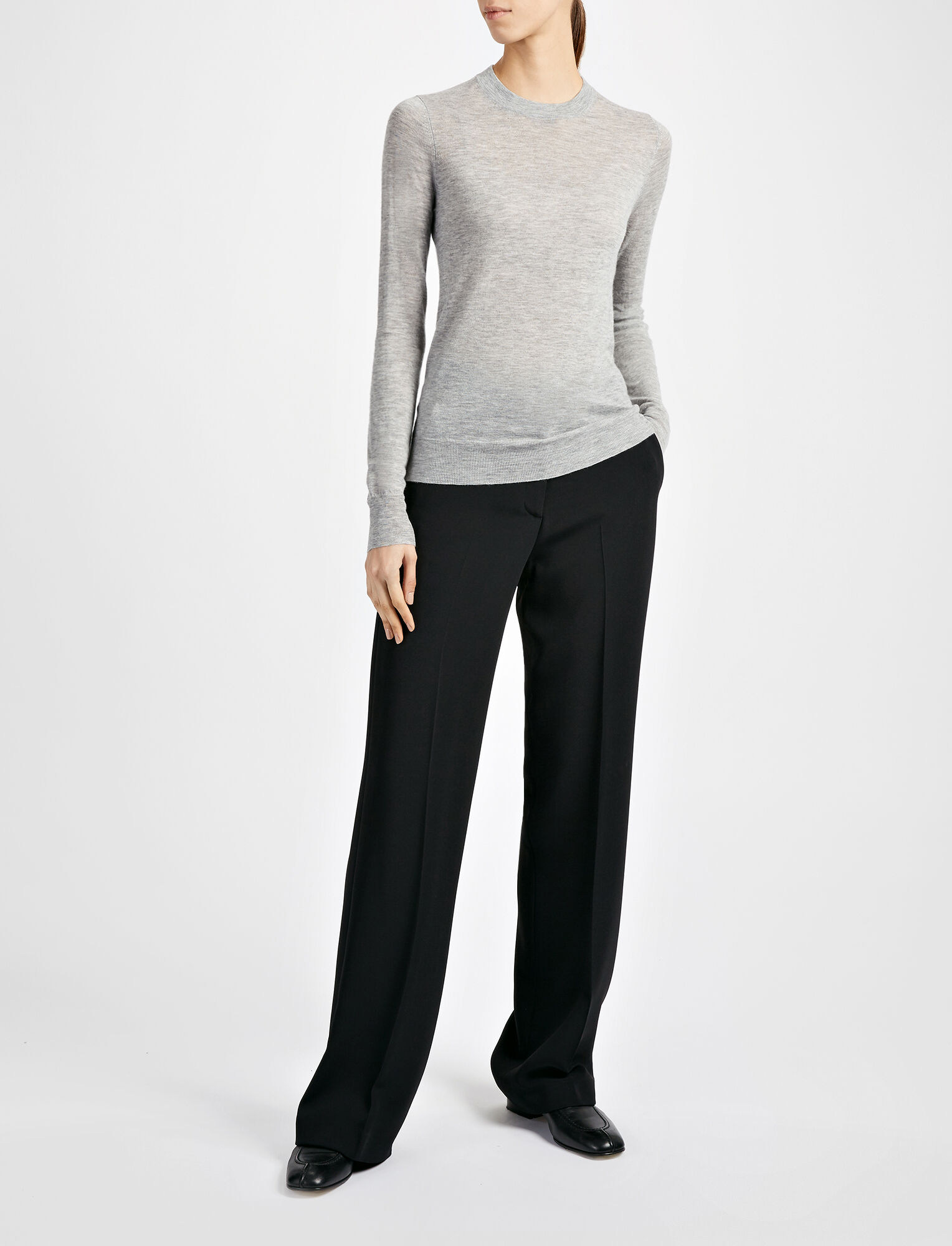 Joseph, Fitted Cashair Sweater, in GREY CHINE