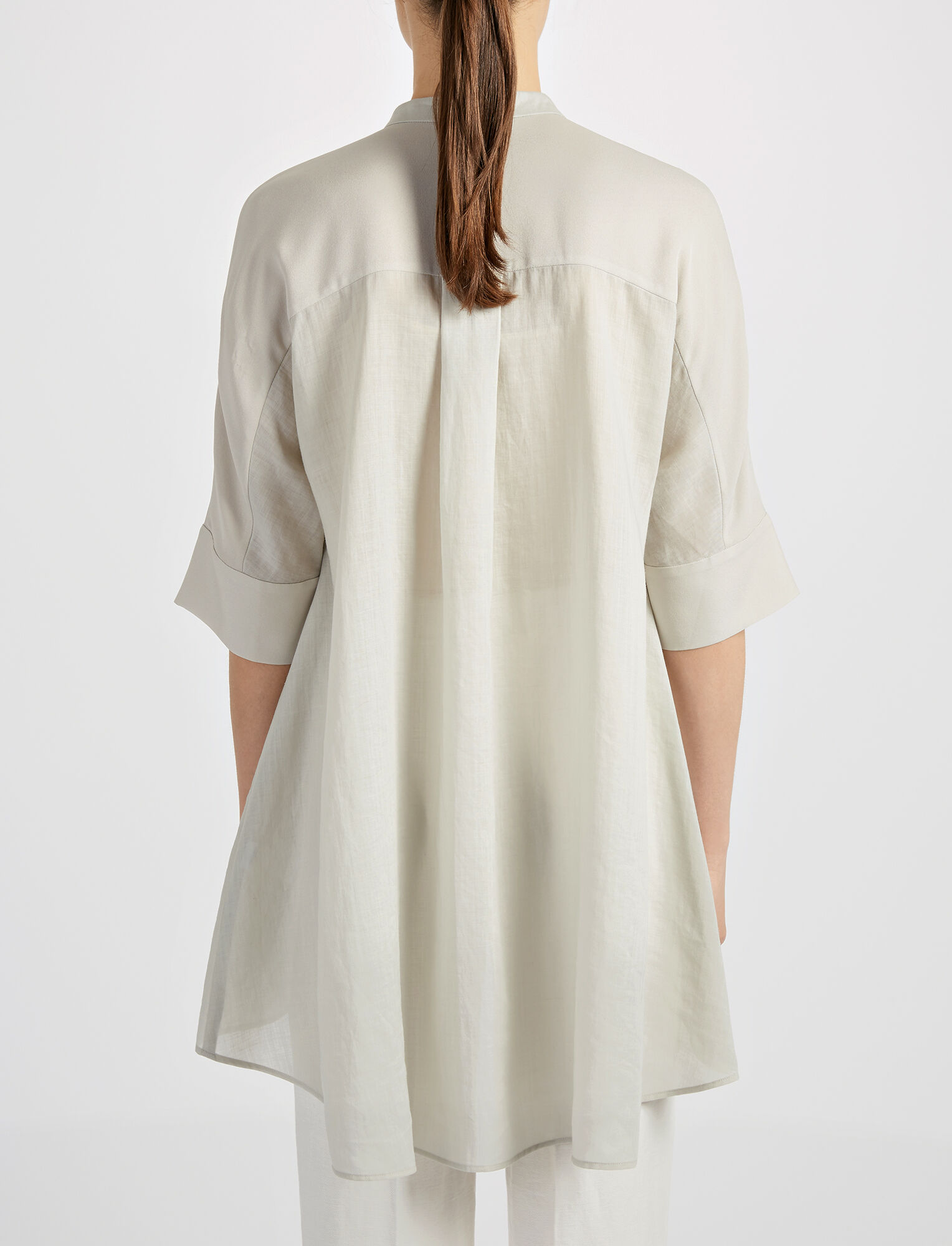 Joseph, Ramie Voile Heather Blouse, in COCONUT
