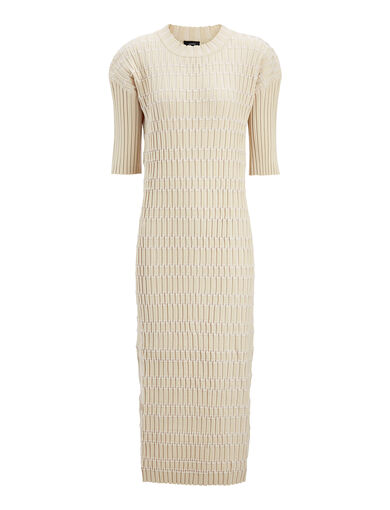 Plaited Nylon Rib Oneida Dress, in SAND, large | on Joseph