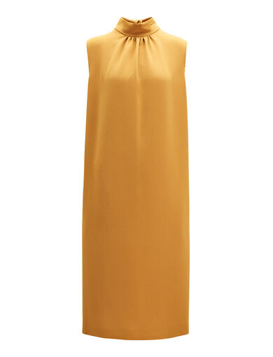 Stretch Flou Bella Dress, in DARK OCHRE, large | on Joseph