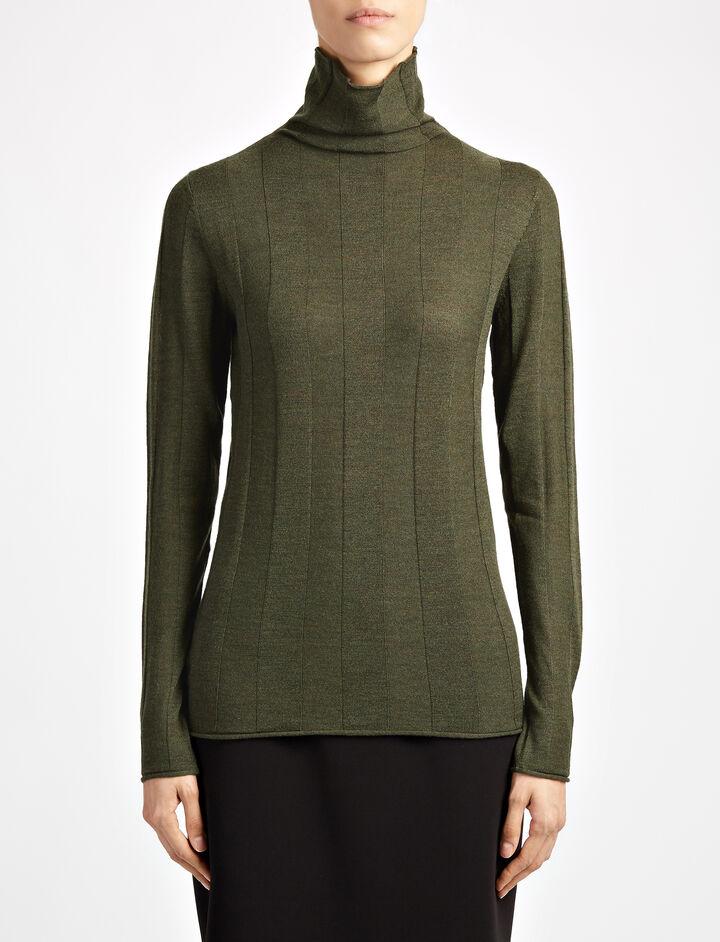Fine Merinos High Neck Rib Sweater, in MILITARY, large | on Joseph