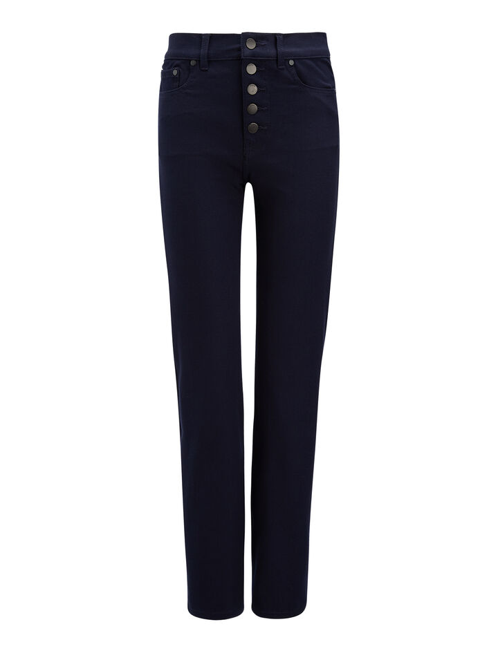 Pantalon Den en gabardine stretch, in NAVY, large | on Joseph