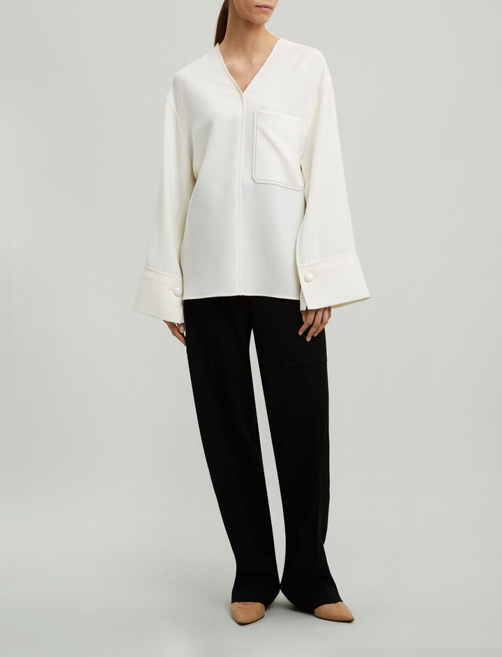 Joseph, Honor Fluid Twill Blouse, in OFF WHITE