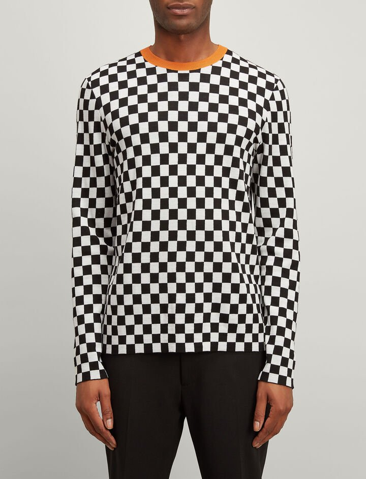 Racing Check Sweater, in BLACK, large | on Joseph