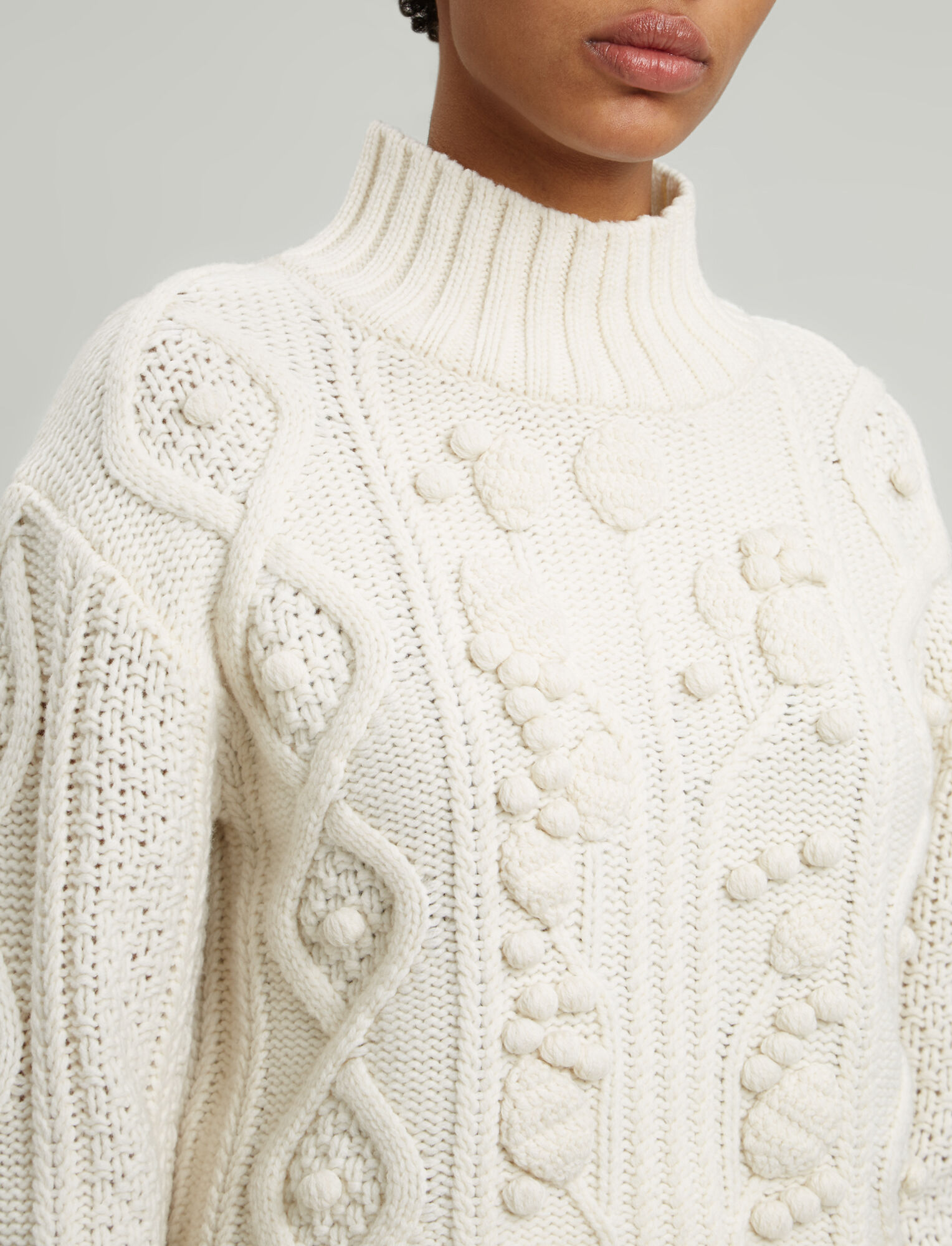 Joseph, Cropped Wool Cable Knit, in ECRU