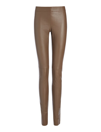 Legging en cuir stretch, in DARK ARMY, large | on Joseph