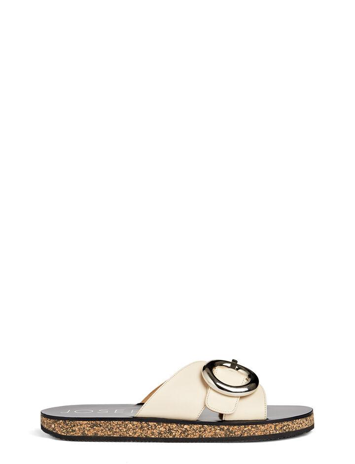 Sandales mules en cuir, in WHITE, large | on Joseph