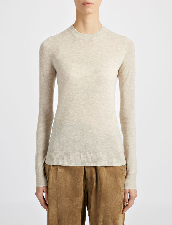 Fitted Cashair Sweater, in HEMP, large | on Joseph