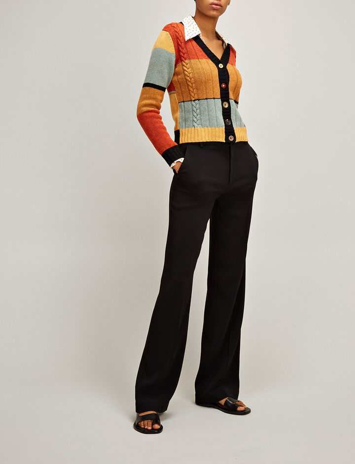 Multicolour Stripe Intarsia Cardigan, in , large | on Joseph