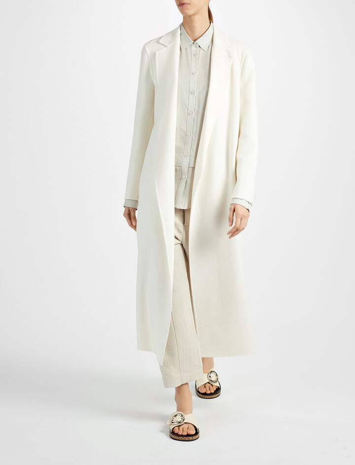 Light Double Cashmere Kido Coat, in CHALK, large | on Joseph