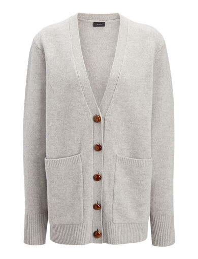 Cardigan Boyfriend en laine douce, in CONCRETE, large | on Joseph