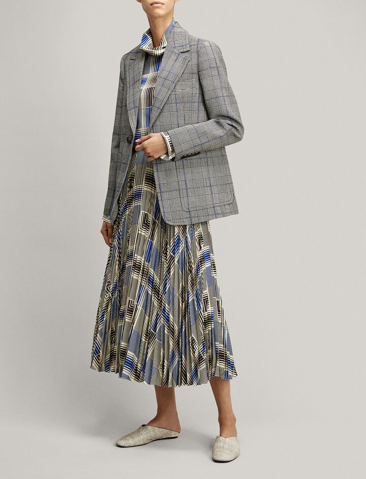 Joseph, Annab Textured Check Jacket, in BLACK