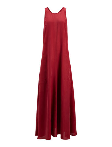 Parachute Silk Penn Dress, in CRANBERRY, large | on Joseph