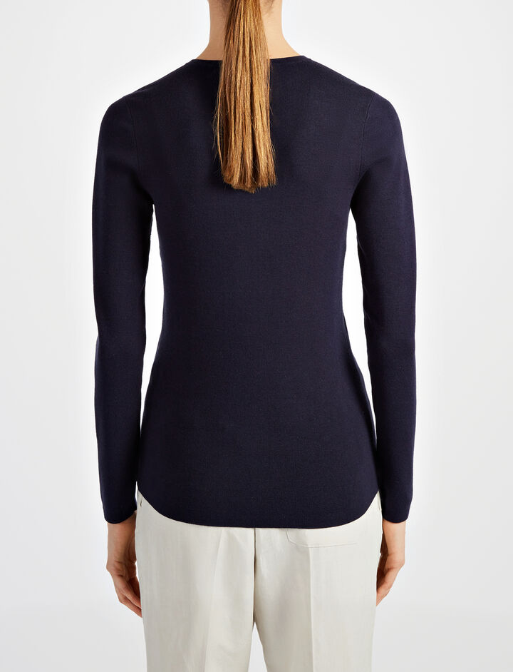 Silk Stretch V Neck Top, in NAVY, large | on Joseph