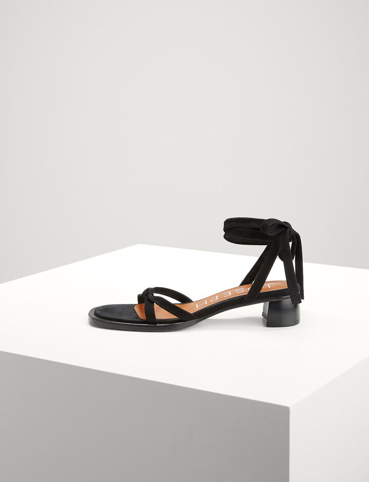 Joseph, Leather Shoestring Sandal, in BLACK