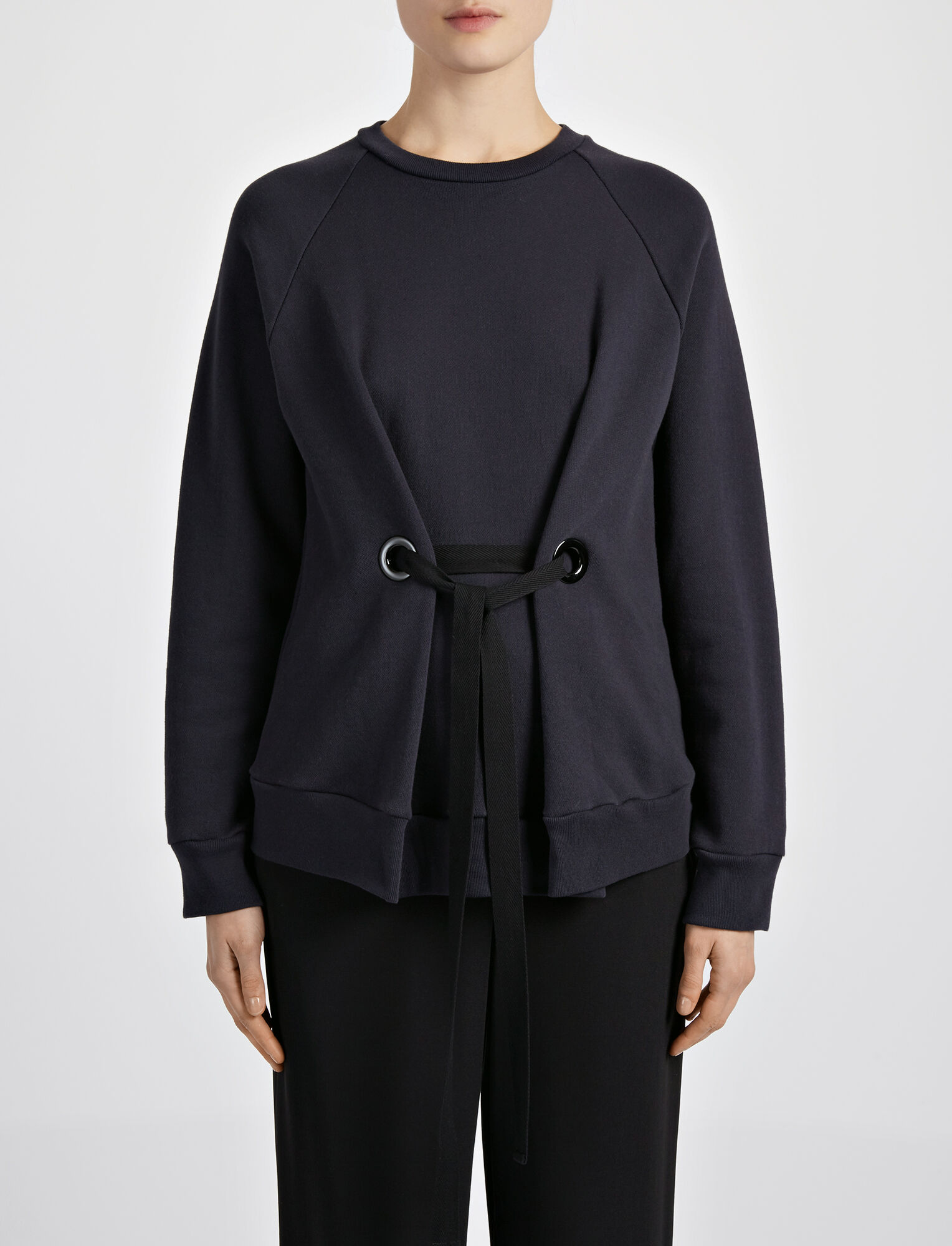 Joseph, Loop Back Eyelet Sweater, in NAVY