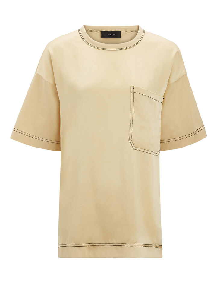 Joseph, Jersey + Silk Satin Tee, in BUTTER