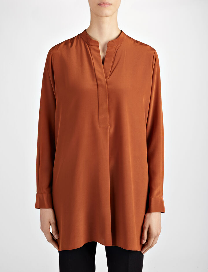 Crepe de Chine Lara Blouse, in RUST, large | on Joseph
