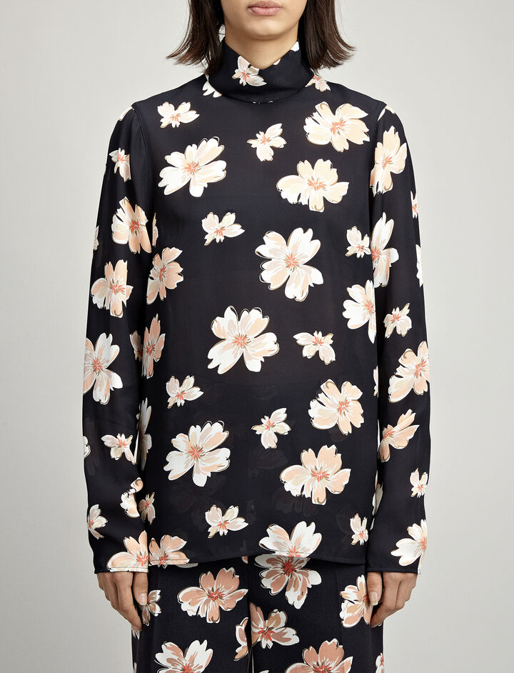 Winter Floral Silk Canvas Vienna Blouse, in MULTICOLOR, large   on Joseph