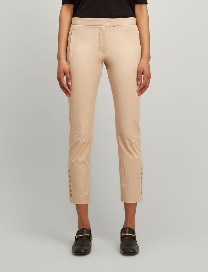Polished Cotton Stretch Finley With Buttons Trousers, in STUCCO, large | on Joseph