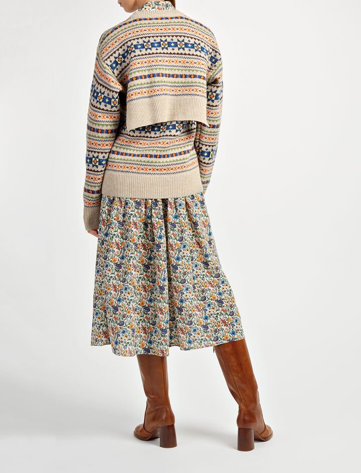 Fair Isle Knit Double Sweater, in BEIGE, large | on Joseph
