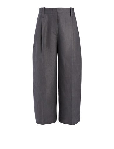 Pantalon Tai en twill de lin, in SMOKE, large | on Joseph