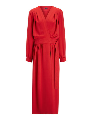 Viscose Cady Mati Dress, in RUBY, large | on Joseph