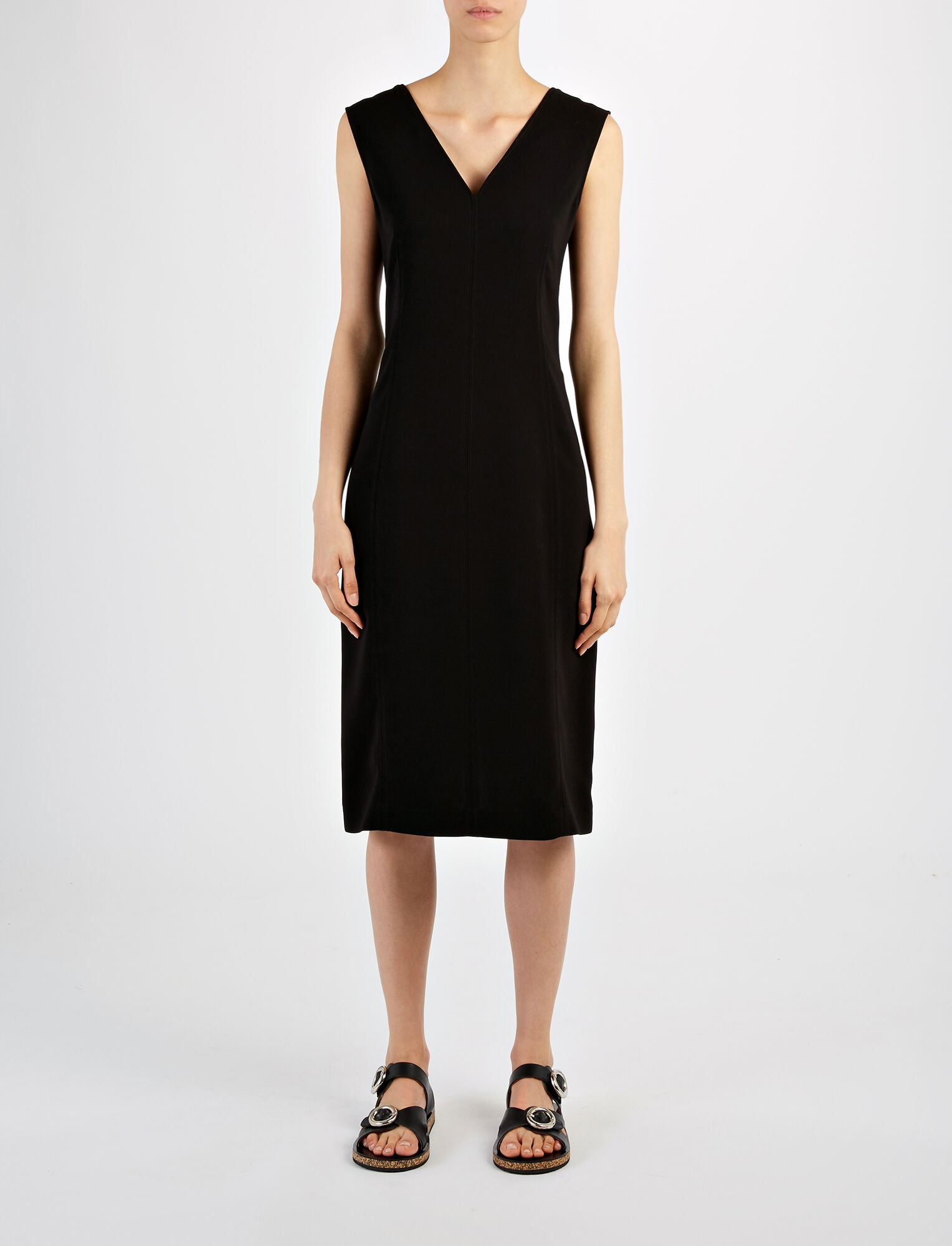 Stretch Flou Dana Dress , in BLACK, large | on Joseph