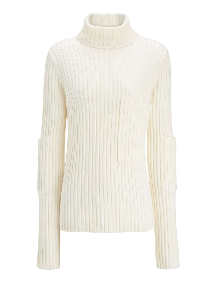 Joseph, Wool Viscose Rib High Neck Sweater, in BONE