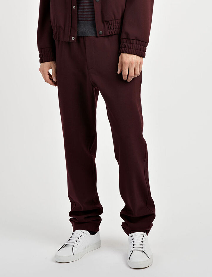 Techno Wool Stretch Ettrick Trousers, in BURGUNDY, large | on Joseph